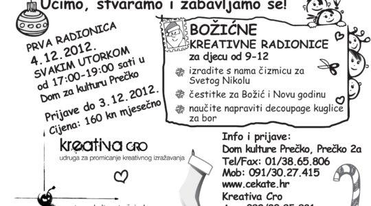 Upisi u tijeku u Božićne kreativne radionice za djecu u Domu kulture Prečko