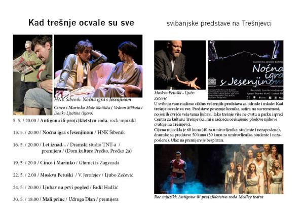 Teatar na Trešnjevci, program: svibanj 2015.
