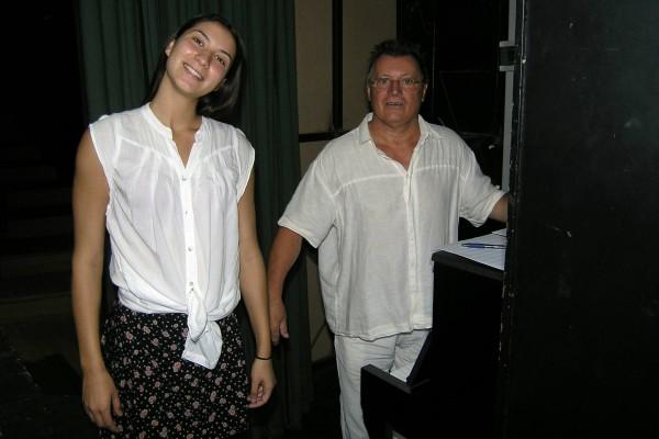 Selma Mehić (Gerda) i Igor Savin (skladatelj) na glasovnoj probi.