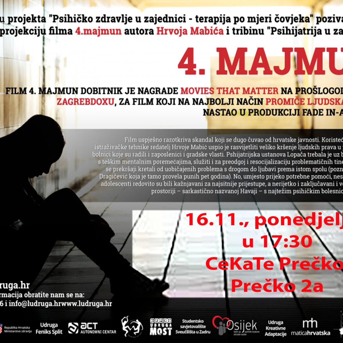 """Dokumentarni film """"4. Majmun"""" hrvatskog autora Hrvoja Mabića"""