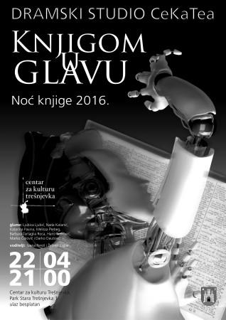 """""""Knjigom u glavu"""", Dramski studio CeKaTea, plakat izradio Darko Dautović"""
