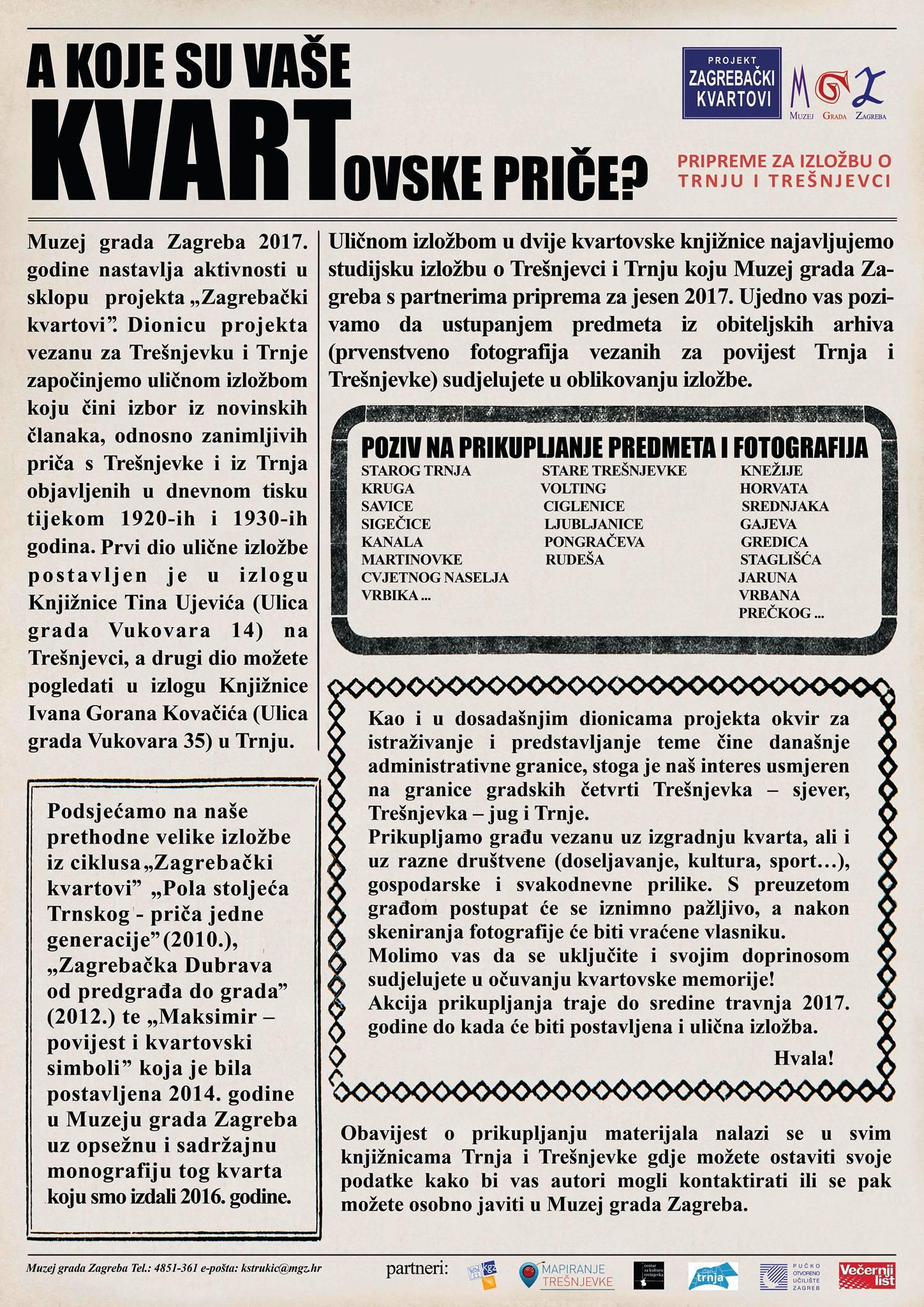 Suradnja s MGZ na kvartovskoj izložbi Trešnjevka/Trnje