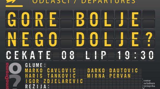 """DRAMSKI STUDIO CEKATEA: 8. 6. / 19.30 / Prezentacija grupe SamaDrama / """"Gore bolje nego dolje?"""" / voditeljica Ivana Peroš"""
