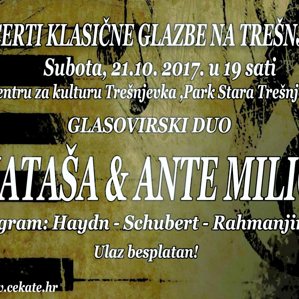 KLASIKA NA TREŠNJEVCI: Glasovirski duo: Nataša i Ante Milić / 21. 10. / 19.00 / ulaz besplatan